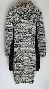 ONCE-WAS-SPENCER-LACY-Fletching-Textuted-Wool-Blend-Leather-Trim-Dress-1-8-299