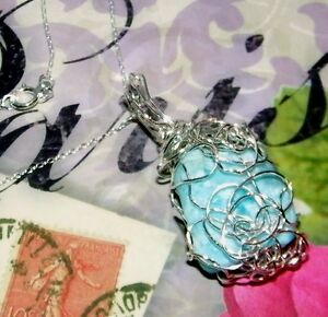 AWESOME-HAND-CRAFTED-SILVER-WIRE-WRAPPED-LARIMAR-CRYSTAL-PENDANT-1-3-4-INCHES