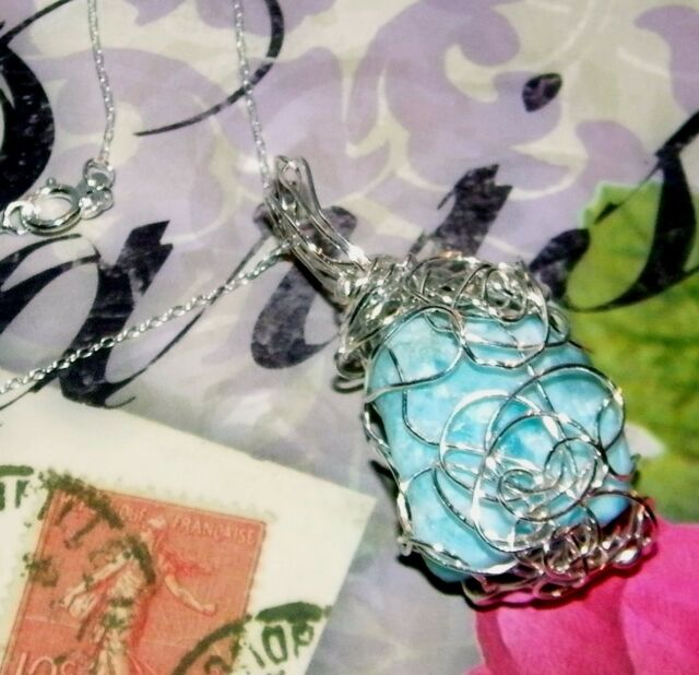 AWESOME HAND-CRAFTED-SILVER-WIRE-WRAPPED LARIMAR CRYSTAL PENDANT 1-3/4 INCHES