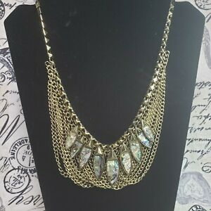 VTG Womens Antique Gold Tone Abalone Accented Statement Bib Swag Chain Necklace