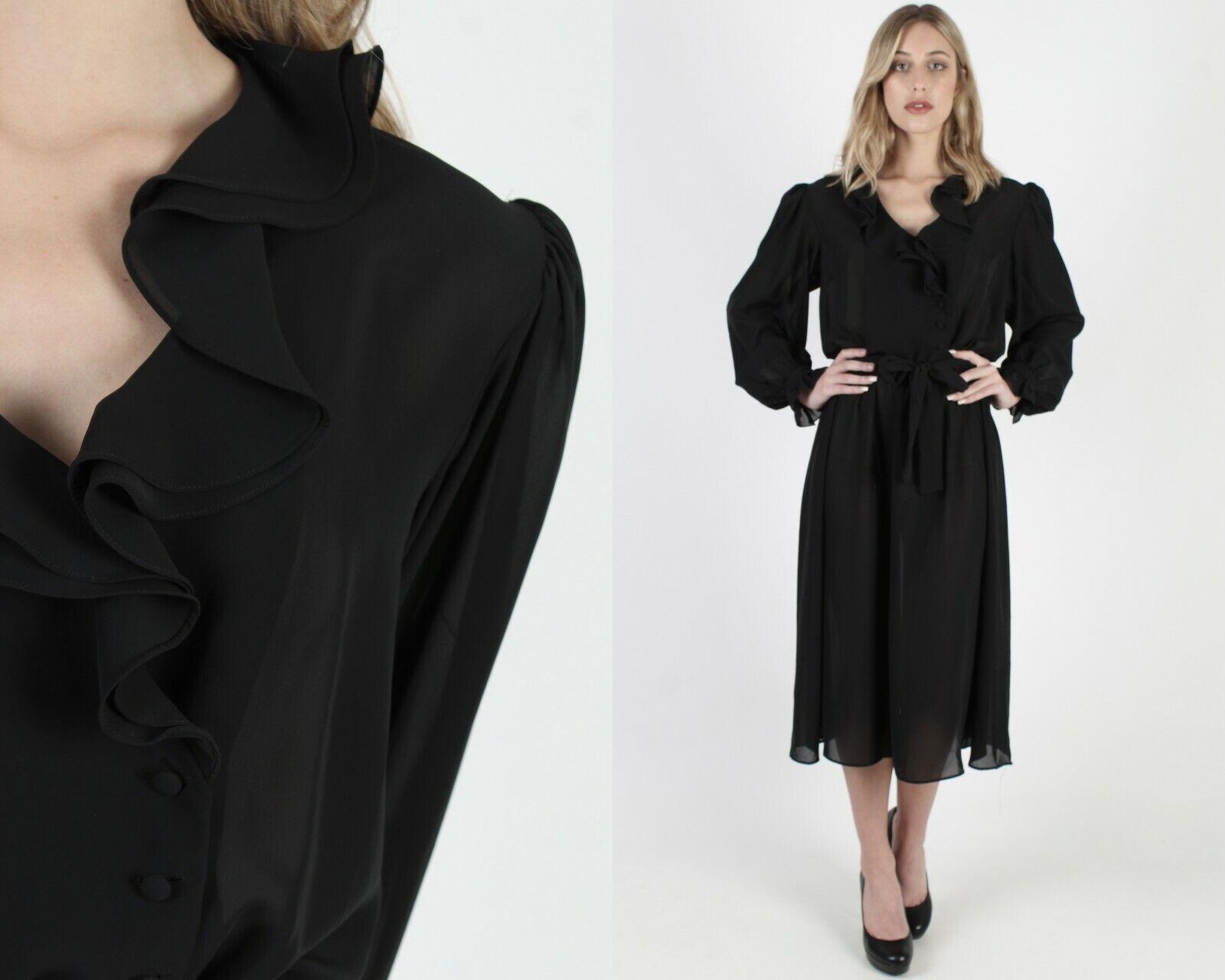 Vtg 80s Black Tuxedo Dress Sheer Ruffle Front Bel… - image 1
