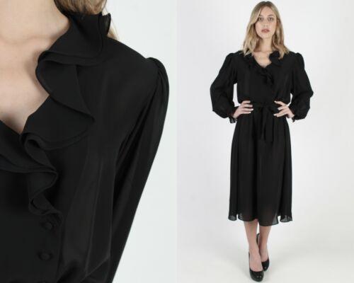 Vtg 80s Black Tuxedo Dress Sheer Ruffle Front Belt