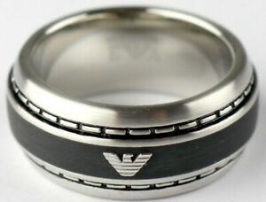 Emporio-armani-senores-anillo-egs1924040510-plata-negro-Gr-190-60-logotipo