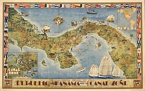 1941 pictorial map Republic Panama Canal Zone border of flags POSTER 8521000
