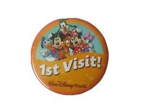 Walt DisneyWorld 1st Visit Button Pin Badge Mickey Minnie Donald Goofy Pluto EUC