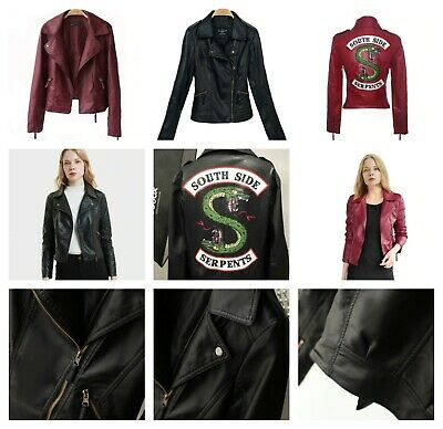 Women Leather Jacket Serpents Logo Printed Long Sleeve