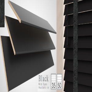 BLACK WOODEN VENETIAN BLINDS REAL WOOD  WITH TAPES  MADE TO MEASURE CHILD SAFE