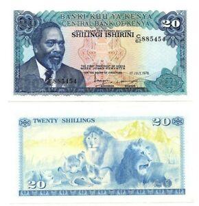 KENYA 20 Shillings (1978) P-17 UNC Banknote depicting Kenyatta Paper Money