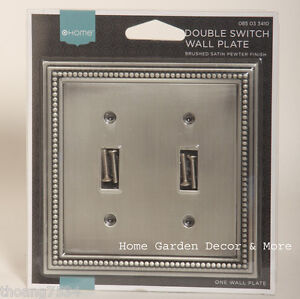 brushed satin pewter bead double light switch wallplate wall plate outlet cover ebay. Black Bedroom Furniture Sets. Home Design Ideas