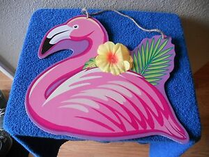 "WALL BOARD HANGING PLAQUE THICK CARDBOARD PINK FLAMINGO 15"" X 13"" FUN"