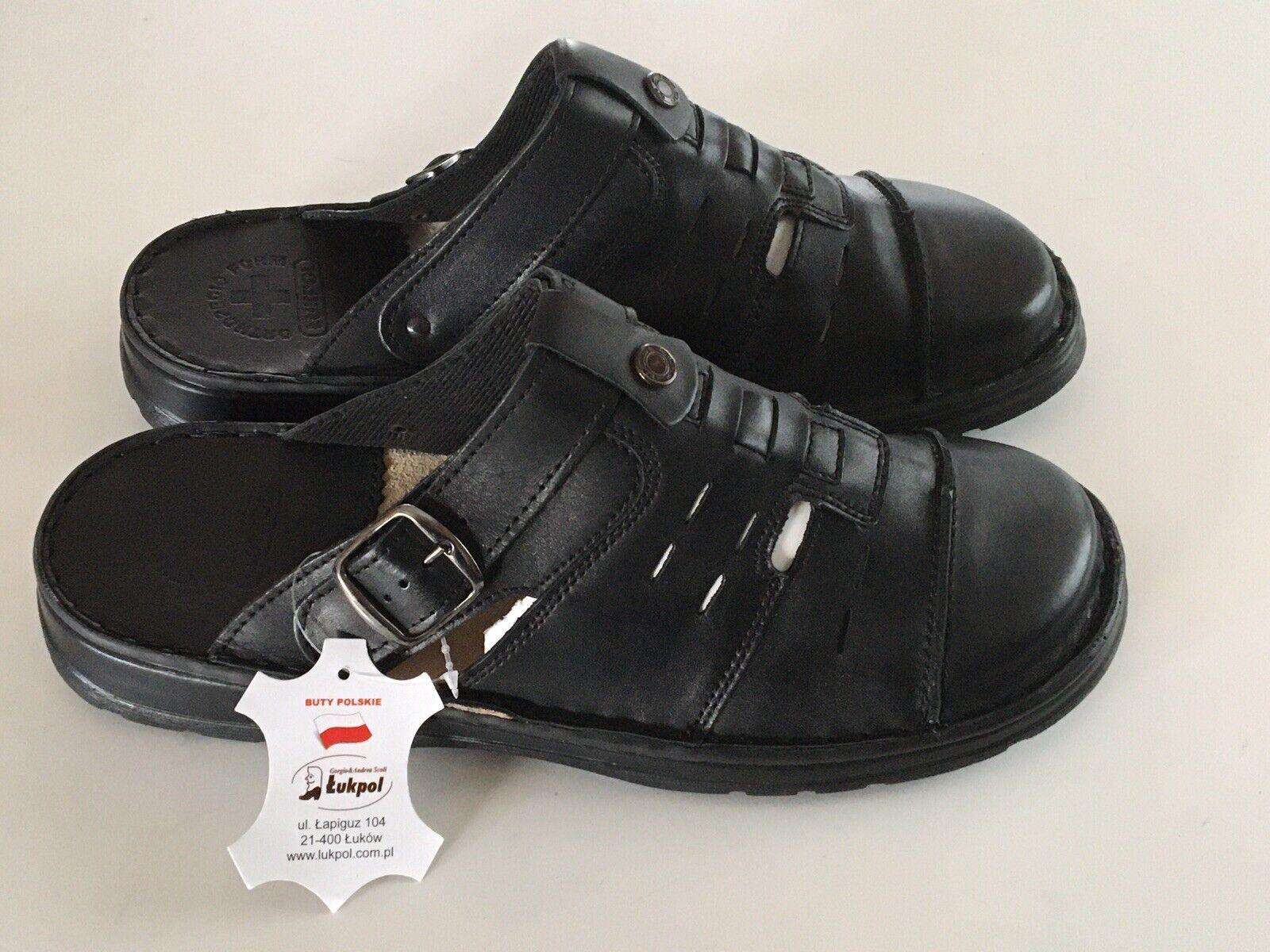 Black Leather Sandals Shoes Size EU 45