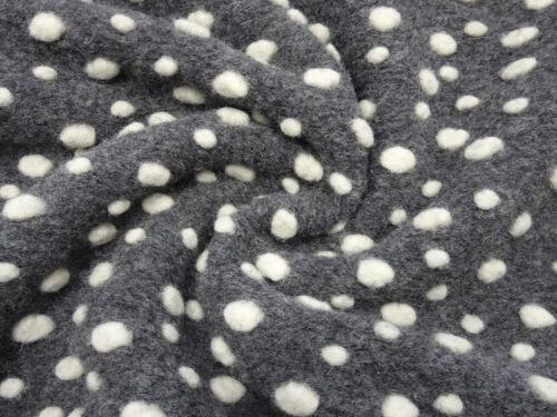 Musterwalk Kochwolle Walk Relief Fliegenpilz Pünktchen grau wollweiß Stoff Ital