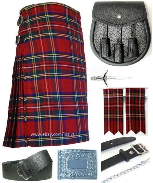 Mens Scottish 7 Piece Casual Kilt Outfit with Sporran, Royal Steward Tartan Kilt