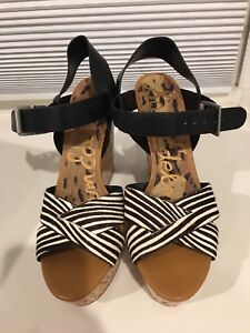 30f7e97e95bd0e Image is loading Sam-Edelman-Black-Leather-amp-striped-wedge-sandal
