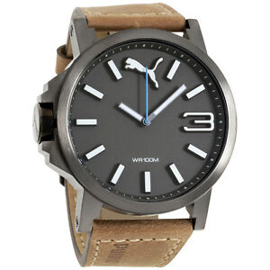 Puma Ultrasize Brown Dial Leather Strap Mens Watch PU103461017 /2629818