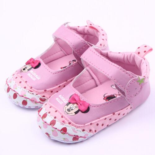 Newborn Infant Girls Minnie Mouse Soft Sole Prewalker Crib Shoes Toddler Sandals