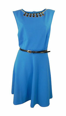 New Look Inspire Mid Blue Waffle Belted Skater Dress with Black Necklace Plus Si