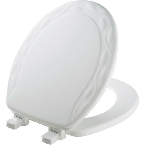Mayfair Round Closed Front Designer Sculptured Ivy White Wood Toilet Seat