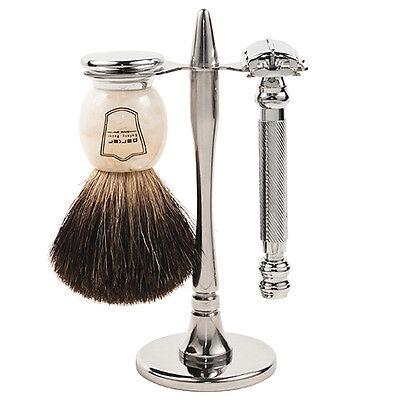 Parker 99r Shave Set Safety Razor Stand 100 Black Badger Brush Included Ebay