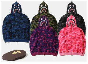 Men-039-s-Shark-Monkey-Head-Bape-Camo-Hoodie-Sweater-Coat-Winter-Blue-Green-Purple