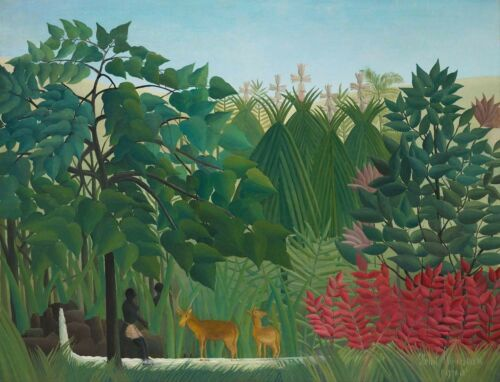 PAINTING HENRI ROUSSEAU THE WATERFALL  LARGE WALL ART PRINT POSTER LF2642