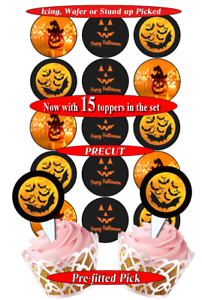 1 15 Halloween Comestible Cupcake Toppers Precut 2 Tailles 8 choix