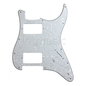 Electric-Guitar-HH-Pickguard-For-Fender-Strat-Stratocaster-3-Ply-White-Pearl