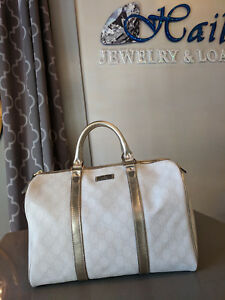 1d06dd259d602b Authentic Gucci Joy Boston Bag GG Coated Canvas Medium White/Light ...