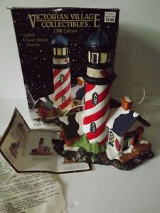 Victorian-Village-Collectible-Houses-Cape-Anne-Lighthouse-1998-Edition-In-Box