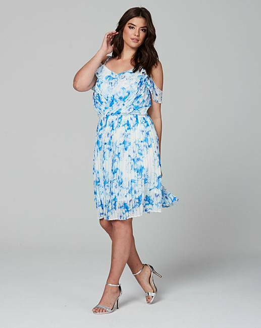 NEW Wolf and Whistle Curve bluee white pleated dress size 20 wedding guest  M31