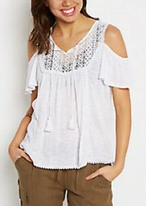0057e092316a9 Details about rue 21~New With Tags~ Soft White Ladder Crochet Cold Shoulder  Top Size Small