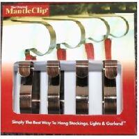 Original Mantle Clips Bronze 4-pack Christmas Stocking Hanger Decoration