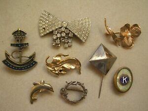 Détails sur Lot de 8 anciens bijoux broche pendentif épingle accessoire mode ancre marine