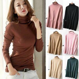 Women-Turtleneck-Bottom-Shirt-Cotton-Long-Sleeve-Casual-Tops-Warm-Slim-Basic-Top