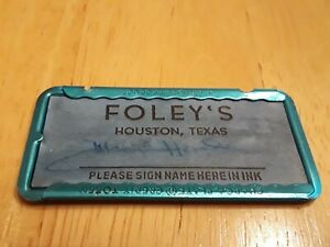 Foley S Vintage Charge Plate Credit Card Houston Texas Department Store Metal Ebay