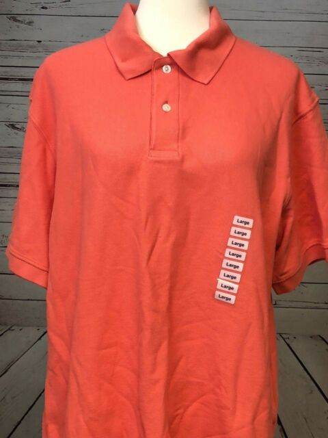 John Ashford Pocket Pique Polo Shirt Coral Orange Large NWT Men's Short-Sleeve