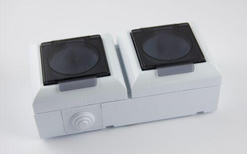 Aufputzsteckdose 1-fach 2-fach  Feuchtraum IP54 16A  Aufputz Montage Weiss