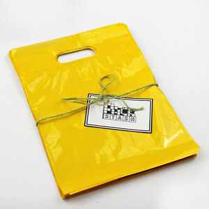 Details About 100 9x12 Yellow Plastic Retail Cut Handle Merchandise Bag Boutique
