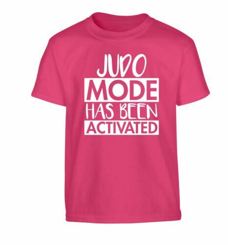 Judo mode activated kid/'s t-shirt sport gym belt mat throw martial art  3656