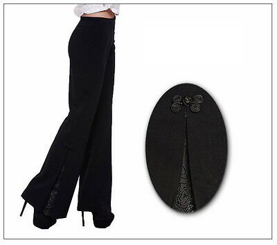Chinese Tradition Lady's Embroider Flower Flares Trousers Pants M L XL XXL 3XL 4
