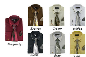 Men-039-s-Milano-French-Cuff-Dress-Shirt-with-Matching-Tie-and-Handkerchief-Set-35