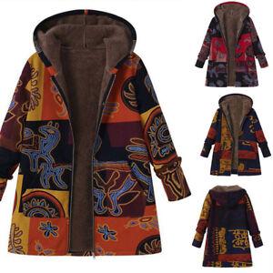 Winter-Womens-Floral-Fleece-Jackets-Thicken-Fur-Lining-Hooded-Coat-Zipper-Hoodie
