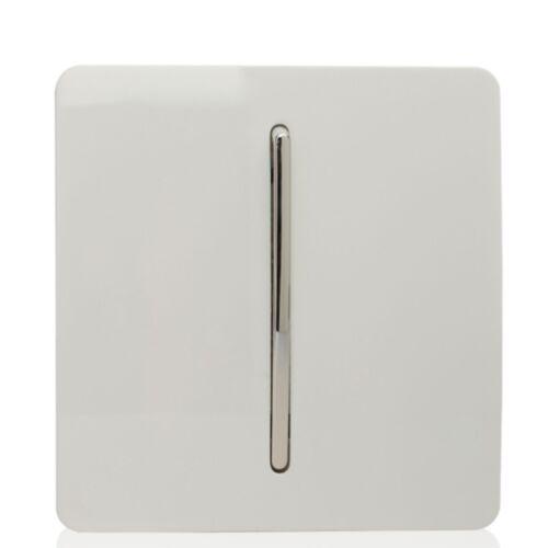 Trendi Interrupteur Plastique Blanc 1 Gang Artistique Moderne Brillant de Réenroulement Sonnette