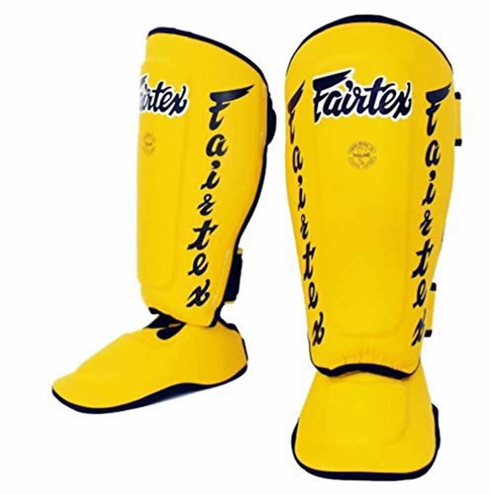 FAIRTEX SP7 YELLOW TWISTER MUAY THAI BOXING K1 DETACHABLE SHIN PAD SHIN GUARDS