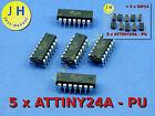 Stk.5 x ATTINY 24 A mit/ohne DIP14 Sockel/Socket Mikrocontroller MCU AVR