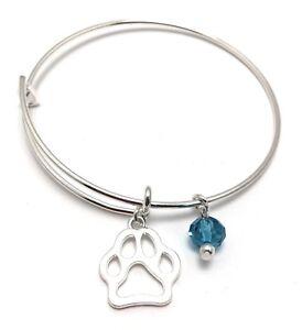 Dog-Paw-Bangle-Bracelet-Blue-Crystal-Charm-Silver-Plated-Women-039-s-Jewelry