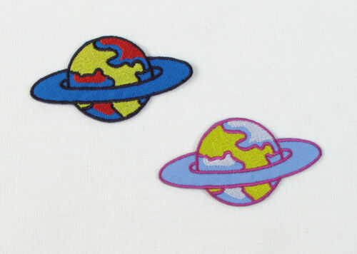 CUTE PLANETS Embroidered Iron Sew On Patches Pairs Singles