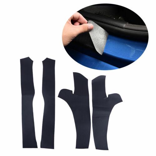 4pcs Carbon Fiber Door Sill Scuff Plate Side Guards Fit For Tesla Model 3 17-19