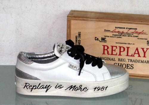 FIRST White//Silver REPLAY Leder Sneaker Metallic Brikettsohle Neu/&Original !
