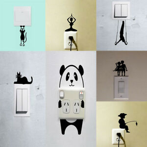 Black-Cute-Cartoon-Creative-Switch-Stickers-Wall-Sticker-Vinyl-Decal-Home-Decor